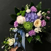 Blue, lilac and white mother and child bouquet