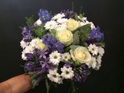 White and blue seasonal bouquet