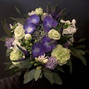 White, green and blue seasonal bouquet