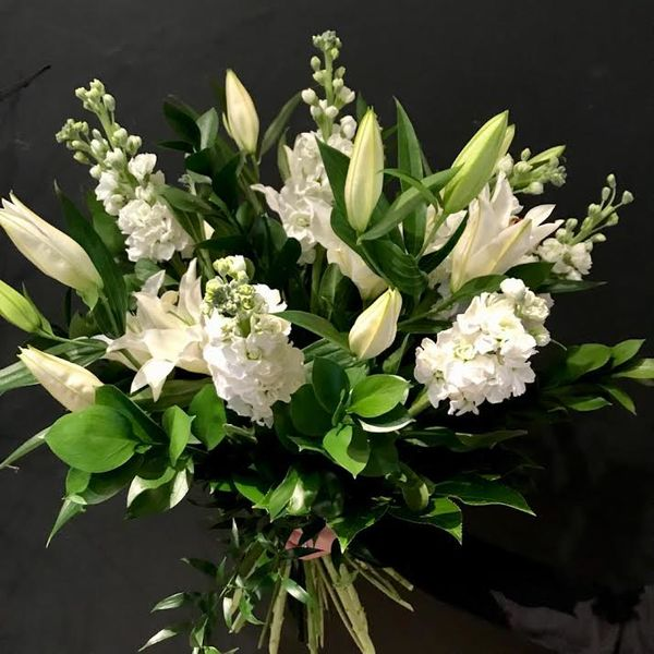 white bouquet with lilies