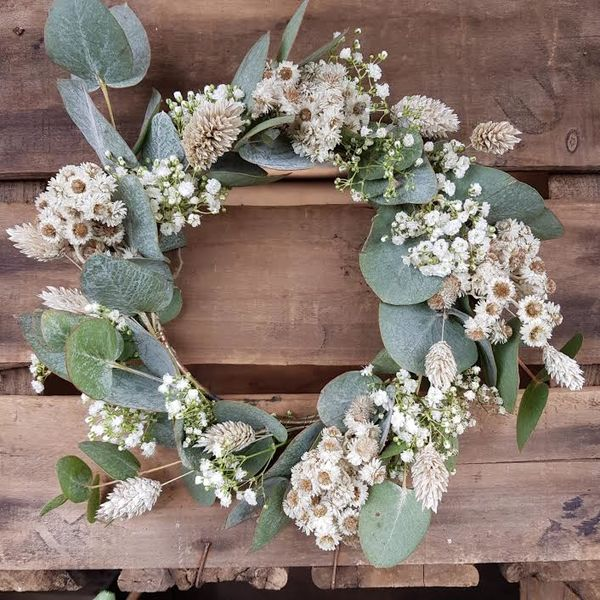 White and green dried wreath