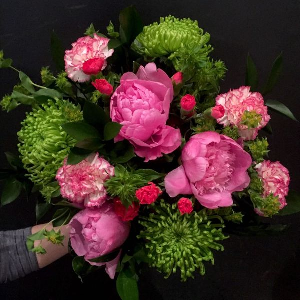 Pink-Lime peony bouquet