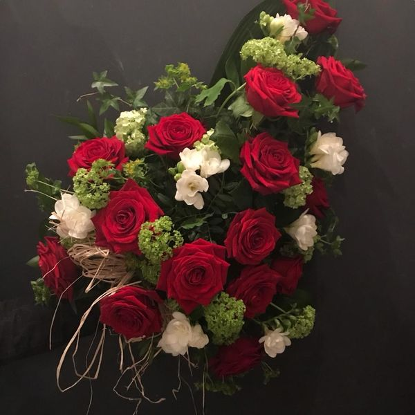 Red and white funeraldecoration