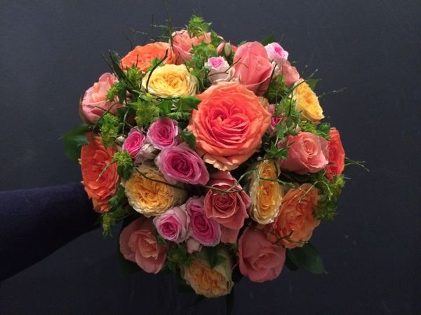 Colorful weddingbouquet made of roses