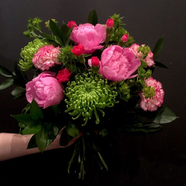High pink-Lime peony bouquet