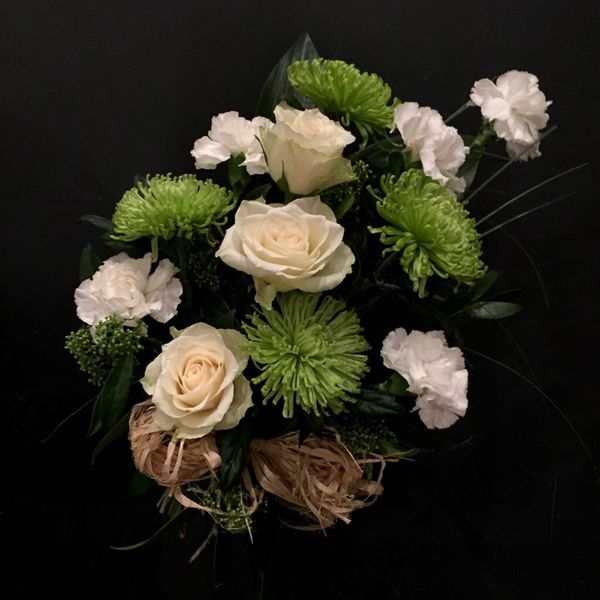 White and greean funeralbouquet
